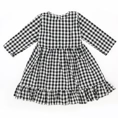 bc1f96e2183ec Baby Kids Clothes · Kiskissing Baby Little Girl White  amp  Black Checked  Spring Casual Ruffled Shift Dress Wholesale For