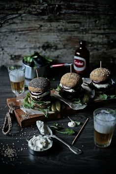 Beef burgers with goat cheese and greek yogurt, pickled cucumbers and Dijon mustard sauce