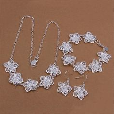 Selling silver plated jewelry set fashion charm women elegant exquisite hollow flowers Necklace Bracelets Dangle Earrings S450