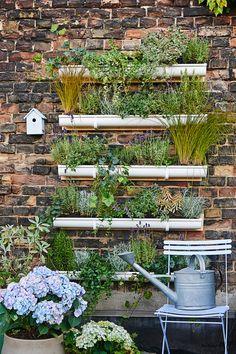 Aus Dachrinnen baut man sich seinen Vertikalgarten selbst