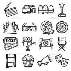 Cinema Icons Set (Vector EPS, CS, art, award, camera, chair, cinema, clapboard, clapper, clapperboard, director, entertainment, film, filmstrip, leisure, line, media, megaphone, movie, multimedia, outline, popcorn, reel, screen, sign, spotlight, star, theater, ticket, tv, video, web) Doodle Drawings, Doodle Art, Ticket Cinema, Kamera Tattoos, Deco Cinema, Movie Reels, Movie Tattoos, Kino Film, Film Strip