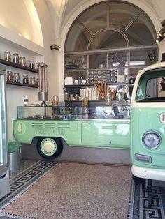 Pistachio Green / Rome Gelateria Photo by www.futureconcept … - New Deko Sites Restaurant Bar, Restaurant Design, Café Design, Store Design, Design Ideas, Cafe Shop, Cafe Bar, Commercial Design, Commercial Interiors