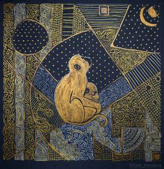 """About dreams"" / ""О мечтах"" Materials grey cardboard, ink gold, white, black./Материалы: серый картон, тушь золотая, чёрная, белая. Size 19x19cm/Размер 19х19см"