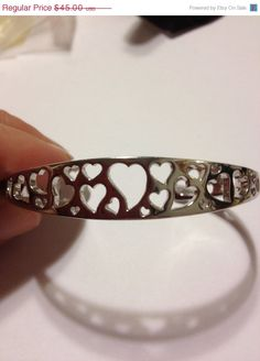 ON SALE Sterling Heart Cuff Bracelet 925 Silver Open Hearts Vintage Jewelry Southwestern Birthday Christmas Holiday Xmas Gift Romantic on Etsy, $40.50