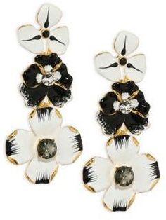 Flower Earrings, Clip On Earrings, Women's Earrings, Flower Jewelry, Swarovski Crystal Earrings, Crystal Jewelry, Fashion Earrings, Fashion Jewelry, Black And White Earrings