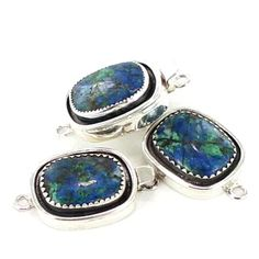AZURITE CLASP CUSHION SHAPE 20x15mm STERLING from New World Gems