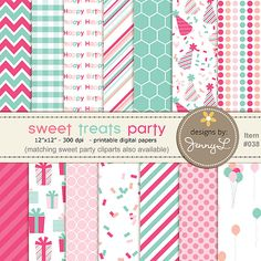 Birthday Party Digital papers by JennyLDesignsShop,