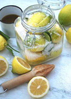 Get Salted Preserved Lemons Recipe from Food Network No Salt Recipes, Lemon Recipes, Chutney, Cuisine Diverse, Preserved Lemons, Fermented Foods, Canning Recipes, Fruit, Food Design