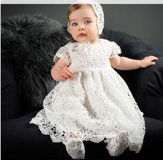 Christening dress - Christening gown - baby girl Baptism dress - off white lace Christening dress and bonnet Girls Christening Dress, Baptism Gown, Baby Girl Christening, First Birthday Dresses, Baby Birthday, Baby Girl Dresses, Dress Girl, Dress Set, Baby Dress