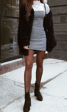 Dress and tights outfit, fall outfits, casual outfits, cute outfits, Winter Mode Outfits, Fall Outfits, Party Outfit Winter, Outfits With Boots, Cute Outfits For Winter, Grunge Winter Outfits, Black And Grey Outfits, Black Outfit Edgy, Edgy Summer Outfits
