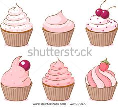 stock vector : Vector illustration of six pink various cupcakes