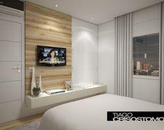 Painel de tv no quarto do casal tem lareira!