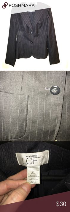 Ann Taylor Loft suit jacket Pinstriped charcoal/dark grey suit jacket/blazer size 2. Great for an interview or any business professional setting. Great condition. Ann Taylor Jackets & Coats Blazers