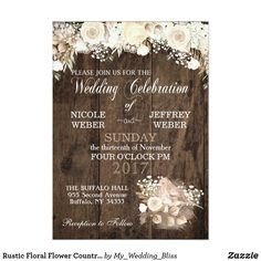 Rustic Floral Flower Country Wood Wedding #weddinginvitations  #rusticweddinginvitations  #countryweddinginvitations