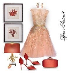 """""""Red & Coral - #3129"""" by lynnspinterest ❤ liked on Polyvore featuring Mirror Image Home, Couture Lamps, Oscar de la Renta, Elie Saab, Bradburn Gallery, Palm Beach Jewelry and Christian Dior"""