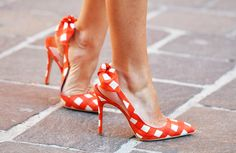 Orange & White checkered Spiked heels...with pointed toes...Fabulous!