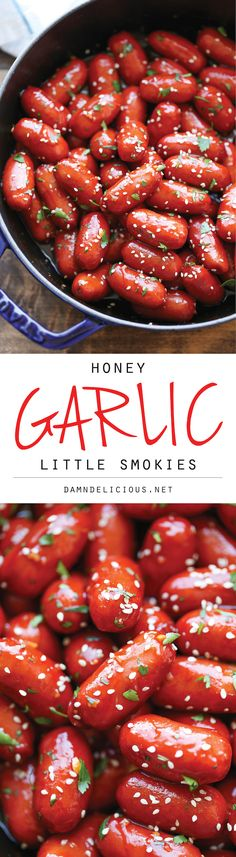 Honey Garlic Little Smokies - Easy peasy, fool-proof cocktail sausages that are amazingly sweet & savory & of course, completely irresistible! Appetizers For Party, Appetizer Recipes, Party Snacks, Meat Appetizers, Quesadillas, Cocktail Sausages, Cocktail Weiners, Sandwiches, Football Food