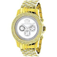 Diamond Watches for Men LUXURMAN Mens Diamond Watch Yellow Gold Pltd 025 *** You can find more details by visiting the image link.