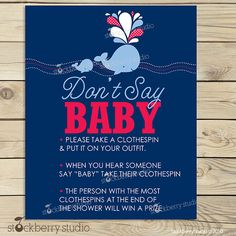 Whale Baby Shower Don't Say Baby Sign by stockberrystudio on Etsy