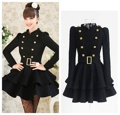 Hollywood style double breasted collarless Slim waist wool Trench Coat dress