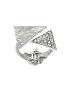 "Crystal pave triangle hinge ring. Stay stylish with a romper.    -plated base metal, crystal  -hinge closure  -height: .5""  - IXR0157-GOLD CLEAR"