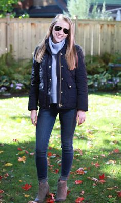 Plaid & Pearls: JCrew Quilted Fall Jacket // Preppy Fall Fashion