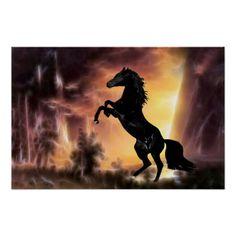 Friesian Stallion rearing poster