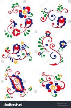 Moravian Fotografie, snímky a obrázky Folk Embroidery, Embroidery Stitches, Embroidery Patterns, Polish Folk Art, Scandinavian Folk Art, Applique Quilts, Art Design, Fabric Painting, Yarn Crafts