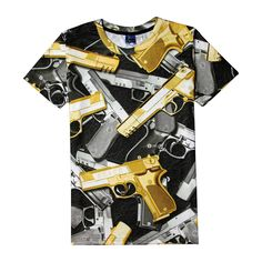 >> Click to Buy << Hot Guns Kaleidoscope J97102 3D Print T-shirt Weapons Pistol Cotton Unisex Summer Tee Shirts Teen Loose Homme Tops #Affiliate