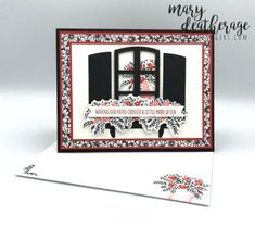 Stampin' Up! Welcoming Window Flower Box Birthday Card with Video Tutorial   Stamps – n - Lingers Window Box Flowers, Flower Boxes, Stamping Up, Happy Friday, Adhesive, Birthday Cards, Stamps, Windows, Mini