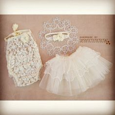 Baby romper, headband and tulle skirt / photoprops