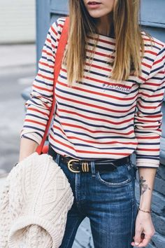 Shop Your Screenshots™ with LIKEtoKNOW. Mode Style, Style Me, Breton Stripes, Paris Outfits, Casual Outfits, Fashion Outfits, Fashion Clothes, Mode Shop, Parisian Style