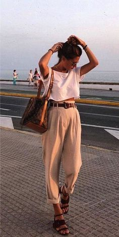 Womens Fashion - casual beautiful outfits high waisted belted trouser sandals white shirt t shirt tank crop top summer fashion Mode Outfits, Fashion Outfits, Womens Fashion, Women's Fashion Tips, Cute Hippie Outfits, Hipster Style Outfits, Hipster Dress, Fashion Hacks, Fashion Brands