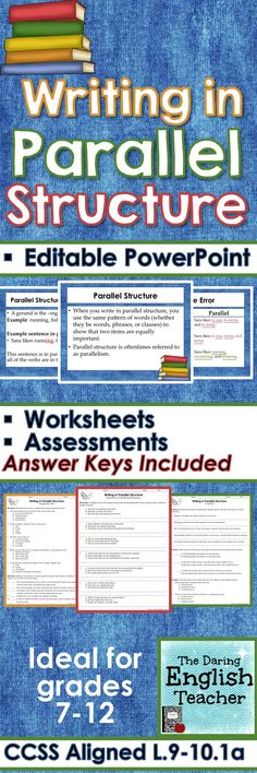 Teach your students about writing in parallel structure. This lesson includes an editable PowerPoint presentation, quizzes, and worksheets.