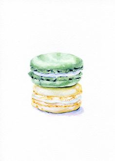 Laduree Macarons Cream and Mint  ORIGINAL por ForestSpiritArt