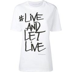Neil Barrett slogan printed T-shirt found on Polyvore featuring tops, t-shirts, shirts, t shirt, white, round neck t shirts, print shirts, white tee and patterned shirts