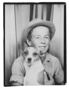 ** Vintage Photo Booth Picture **   Young whipper snapper and his dog.