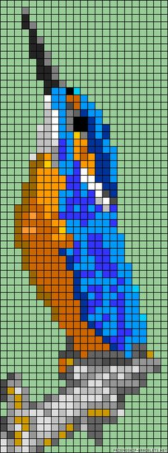 Kingfisher bird perler bead pattern Found on friendship-bracelets.net
