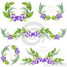 Watercolor floral design elements with leavesand blueberries. Brushes, borders, wreath,garland. Vector
