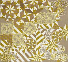 Sabine Boehl, memories (Ellsworth-Kelly-Iris-Plumeria), 2013, 193x211 cm, tiny glass beads sawn on canvas