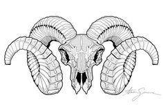 Items similar to Ram Skull on Etsy Ram Skull, Skull Art, Widder Tattoo, Pink Floyd Art, Hunting Tattoos, Arte Horror, Animal Sketches, Animal Skulls, Line Art