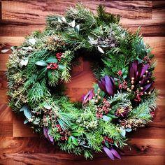 Natural holiday wreath.