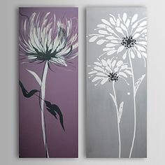 Hand Painted Oil Painting Floral Chrysanthemum with Stretched Frame Set of 2 1310-FL1042 – CAD $ 86.94