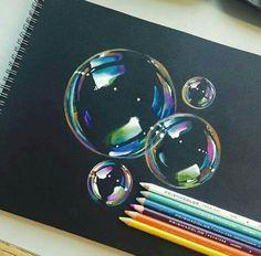 Pencil Drawing Tips bubbles Color Pencil Art, Color Pencil Drawings, Crayon Drawings, Charcoal Drawings, Drawings With Colored Pencils, Prismacolor Drawings, Pencil Art Love, Art Tips, Drawing Tips