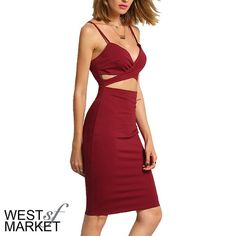 -NEW ARRIVAL-  Bodycon Cut-Out Dress Burgundy cut-out dress with spaghetti straps, bodycon, and midi length. PLEASE COMMENT TO BUY THIS LISTING with the SIZE you would like, I will make a separate listing for you! West Market SF Dresses Midi