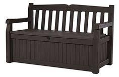 Storage Garden Bench 70 Gal. All Weather Outdoor Patio Deck Box Pool Wood Brown #Keter