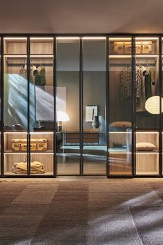 Sistema 7 is a versatile system, designed by Vincent Van Duysen for Molteni C. Here the centre doors fold back on a clever patented mechanism that enables full accessibility to a secret walk-in wardrobe. Made in Italy. Wardrobe Interior Design, Showroom Interior Design, Wardrobe Door Designs, Walk In Closet Design, Wardrobe Design Bedroom, Luxury Wardrobe, Mirrored Wardrobe Doors, Wardrobe With Mirror, Wardrobe Room