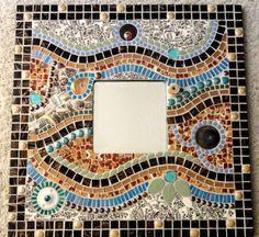 Vintage Broken China Mosaic Wall Mirror, Brown/Blue/Rust, Mosaics, Wall Decor. $350.00, via Etsy.