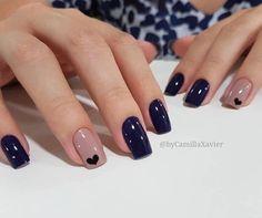 Ideas For Nails Blue Nailart Manicures Stylish Nails, Trendy Nails, Chic Nails, Elegant Nails, Perfect Nails, Gorgeous Nails, Hair And Nails, My Nails, Heart Nails