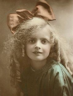 Hand-Tinted Sepia - Little Edwardian Girl In Green